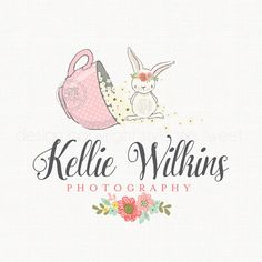 Bunny Logo Premade Logo Watercolor Logo Children's Boutique Logo Nursery Logo… Boutique Logo, Baby Boutique, Logo Rabbit, Bunny Logo, Watercolor Logo, Floral Logo, Baby Decor, Logo Inspiration, Tea Party