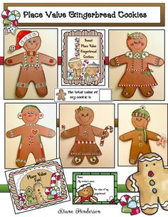 Students have an absolute blast decorating a paper gingerbread cookie, with a variety of place value pieces. Afterwards, they count things up to arrive at a value for their cookie. 3 worksheets reinforce the various PV concepts. Completed projects turn out super-cute & make a wonderful winter bulletin board or hallway display. (Door decorations anyone?)