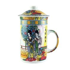 Oriental Cup with Lid Goddess Chang'e Style