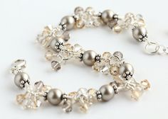 Cappuccino Cluster Bracelet with Swarovski crystals and taupe Swarovski pearls. By OpheliasJewels, $56.00