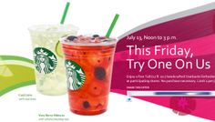Starbucks TODAY 7/13 Noon to 3p ~  Free Tall Starbucks Refreshers Beverage