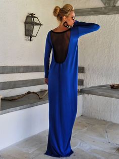 Royal Blue Maxi Dress Kaftan with Black See-Through Detail / Asymmetric Open Back Dress / Oversize Loose Dress / #35109