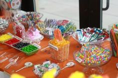 Other side of candy buffet table