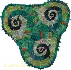 Green (Lime) Triple #Spiral (#Triskele) hand knit rag rug (sold).  A fun rug to put together.  See more at www.rugsfromrags.com.