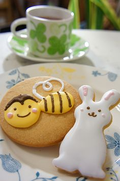 Bee and bunny cookies