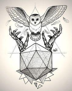 30 Amazing Owl Tattoo Designs and Drawings - Best Geometric Owl Tattoo Dotwork, Tatoo Art, Forearm Tattoos, Tattoo 2017, Geometric Owl Tattoo, Geometric Cat, Geometric Drawing, Owl Tattoo Design, Geometric Tattoos