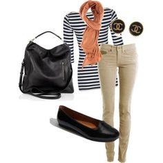 A Striped Top With Tan Pants, An Orange Scarf, and Black Accessorized Outfit