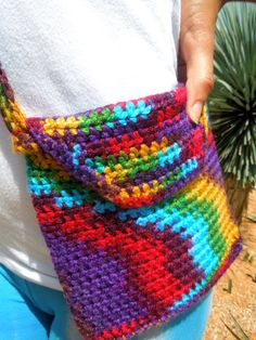 Crochet Purse Colorful Bag Red Yellow Green Blue by DopeCrochet, $20.00