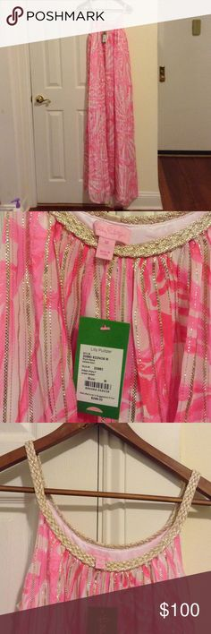 """NWT Lilly Pulitzer sienna maxi sz M/L Brand new, color is """"pink pout shimmy shimmy.""""  Beautiful gold metallic neckline and in the body of the dress as well. Measurements: 55.25"""" long, ~19.25"""" across chest (note: I stretched the fabric to get this measurement so it may be looser on some folks). This dress fits loosely so it would work best for medium or a large... Definitely not so well for someone who is a small or medium Lilly Pulitzer Dresses Maxi"""