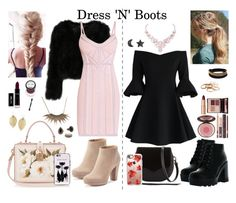 """""""Dress 'N' Boots Outfts"""" by muzzen-miig ❤ liked on Polyvore featuring Chicwish, Rebecca Minkoff, Casetify, Bamboo, LC Lauren Conrad, Hervé Léger, Dolce&Gabbana, Charlotte Tilbury, We The Free and Kate Spade"""