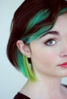 I would totally try this, if school was out. Green haired art teacher?
