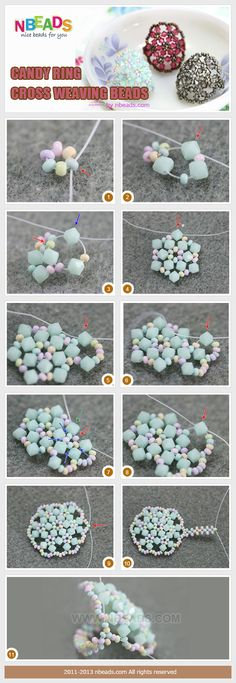 FROM nbeads.com: Candy ring-cross weaving beads tutorial