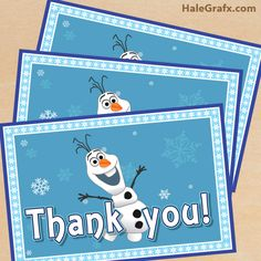 FREE Printable Frozen Thank You Card with Olaf