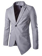 Men's Casual Blazer Slim Suit Jacket With Asymm Hem In Black/Gray - Women Dress Club Blazers For Men Casual, Casual Suit, Casual Blazer, Dress Casual, Blazer Jacket, Blazer Suit, Western Suits, Slim Suit, Mens Suits