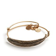 Bent Feather or Leaf Component - Expandable Memory Wire Bracelet - Quill Feather Wrap | Alex and Ani