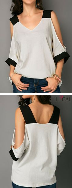 Patchwork Cold Shoulder V Neck T Shirt - Herren- und Damenmode - Kleidung Sewing Clothes Women, Diy Clothes, Clothes For Women, Diy Fashion, Trendy Fashion, Fashion Outfits, Fashion Sewing, Dress Fashion, Fashion Women
