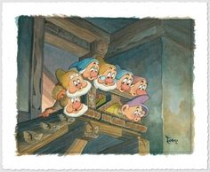 Disney Fine Art - Top Of The Stairs. Snow White and the Seven Dwarves. Biggs Ltd. Gallery. Heirloom quality bridal, art, baby gifts and home decor. 1-800-362-0677. $595.