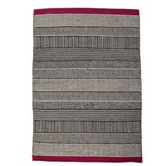 Geometric Reversible Wool Rug - Black and White with Fuchsia Pink accent  www.atkinandthyme.co.uk