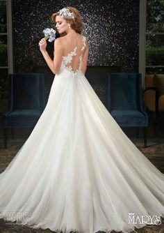 mary's bridal spring 2016 sweetheart illusion bateau sleeveless a line wedding dress (6426) lace applique ruched bodice illusion back elegant romantic bv