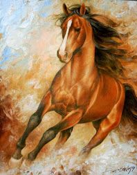 pinturas de caballos corriendo oleo