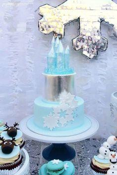 A Frozen Themed Party Disney Frozen Party, Frozen Themed Birthday Party, Birthday Party Celebration, Frozen Birthday Party, Birthday Party Themes, Birthday Ideas, 4th Birthday, Birthday Cakes, Frozen Theme Cake