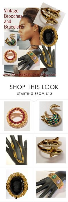 """""""Vintage Brooches and Bracelets"""" by diana-32 on Polyvore featuring Trifari, Sarah Coventry and vintage"""