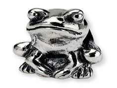 Kids Personalized Sterling Silver Frog Charm Bead (Online at Gemologica.com)