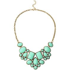 Faux Stone Bib Necklace - Mint Green (17.515 COP) ❤ liked on Polyvore featuring jewelry, necklaces, green, vintage necklaces, stone pendant necklace, stone necklaces, vintage bib necklace and mint necklaces
