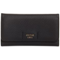 Guess Trudy Slim Wallet ($40) ❤ liked on Polyvore featuring bags, wallets, black, slim bag, slim pocket wallet, guess wallets, card slot wallet and party bags