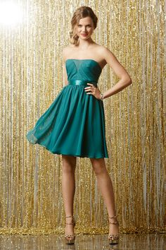 Strapless Knee Length Chiffon Pleating A Line Bridesmaid Dress #bridesmaid