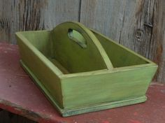 Primitive Wooden Cutlery Tray In Poison Green