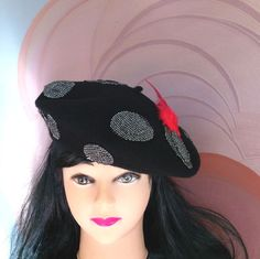 Wool Beret Hat Black with Red Pheasant Feathers by JCNfascinators