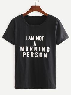 Black Letters Print Long T-shirt