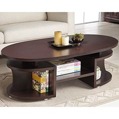 Furniture of America Modern Elliptical Multi-Shelf Walnut Coffee Table - Overstock Shopping - Great Deals on Furniture of America Coffee, Sofa & End Tables Table Design, Coffee Table Wood, Coffee Table Design, Solid Wood Coffee Table, Tea Table Design, Coffee Table With Drawers, Decorating Coffee Tables, Contemporary Home Furniture, Living Room Table