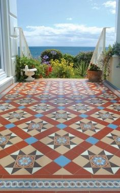 Decorative Outdoor Tiles Custom Victorian Floor Tiles York White & Black With Kingsley Border Inspiration