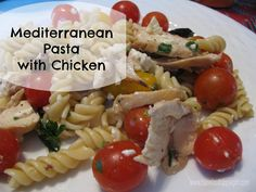 Mediterranean Pasta wit Chicken is a easy and delicious pasta dish that uses fresh cherry tomatoes and parsley, and has bursts of flavor from feta and kalamata olives.