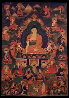 Shakyamuni Buddha - with Sixteen Elders (Arhats) (HimalayanArt)