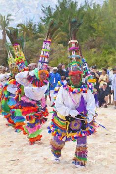 Gombey dancers at Horseshoe Bay, Bermuda.  Photo appears to be taken on the white sand of Horseshoe Bay, Southampton, Bermuda...could be  early 2015  easily.  Adapted: Pink Pillars Vision: Essence of Bermuda culture.  Thanks fellow Bermudian D. Herbert. December 29, 2015.