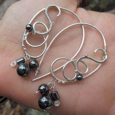 Hematite Sterling Silver Triple Spiral Earrings- Black Beaded Wire Wrapped Hoops- Handmade Gemstone Goddess Wedding Jewelry by TheGemstoneGoddess on Etsy