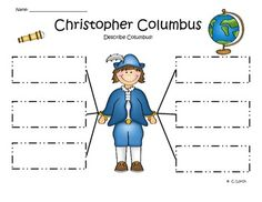 Christopher Columbus graphic organizers for kindergarten writing - web, could, had, was, and fact writing sheet
