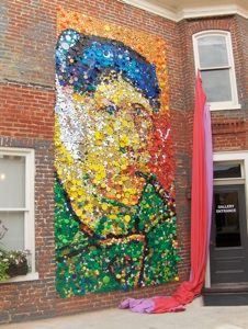 bottle caps, bottle cap mural, van gogh, bottle cap art, bottl cap, mosaic