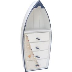 Four-drawer wood cabinet with a boat-inspired silhouette.Product: CabinetConstruction Material: WoodColor:...