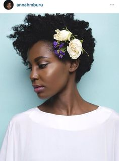 15 Ways to style your natural hair for a wedding. Look #6: Statement flower pin for the short fro.