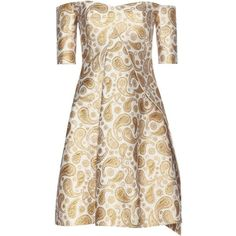 Stella McCartney mytheresa.com Exclusive Off-the-Shoulder Jacquard... ($1,600) ❤ liked on Polyvore featuring dresses, stella mccartney, gold, cocktail/gowns, off the shoulder dress, off the shoulder evening dresses, jacquard dress, evening dresses and holiday dresses