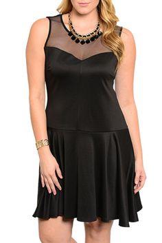 Black Plus Size Sexy Sheer Mesh Sweetheart Sleeveless Date Dress