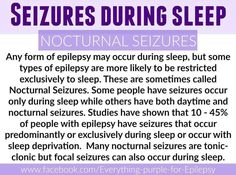 CURE 4EPILEPSY! I've had only 2 day time seizures but every other one has been a nocturnal seizure