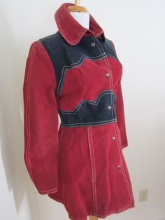 1960s GASSY JACK Red/Blue Suede Coat Canada XS Hippie Boho by petgirlvintage on Etsy https://www.etsy.com/listing/219154046/1960s-gassy-jack-redblue-suede-coat