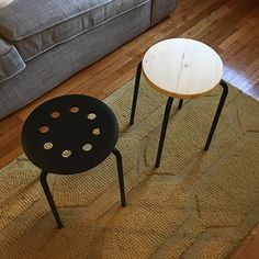 Tried out an ikea hack today and replaced the plastic top to a 5$ Marius stool with a pine round. #ikeahack #homedesign