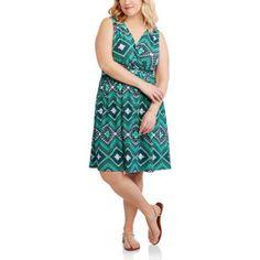 Faded Glory Women's Plus Braided Waist Flip Flop Dress, Green