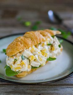 This mango chicken salad sandwich is a croissant stuffed with fresh mango chicken salad - chicken, sweet mango, fresh basil, green onions. | pinchofyum.com // Card Made